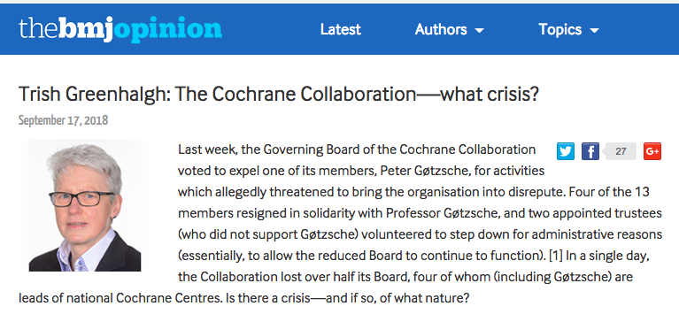 Greenhalgh is wrong about Cochrane crisis: it´s about science and democracy, not damage control
